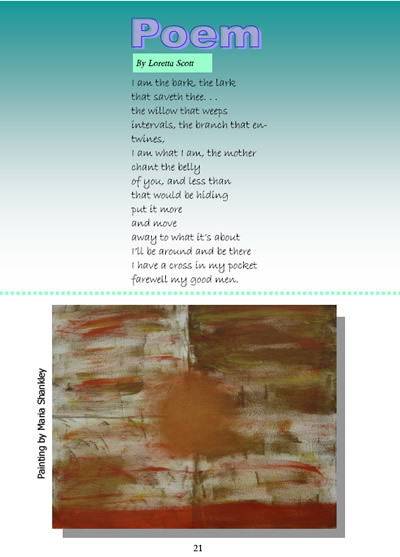 Loretta Scott - Poem (image of poem), Maria Shankley - Painting