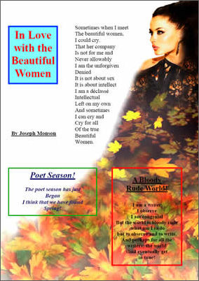Three poems by Joseph Monson with image of model in background