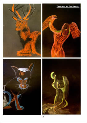 line drawings of a stag, a cat and torsos - colour on black background