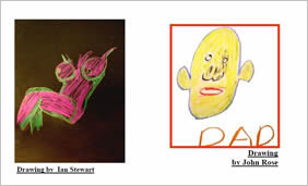 drawing of female nude and drawing of a face marked 'DAD'