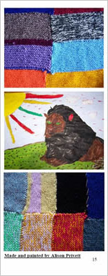 Knitted blankets and a painting of a lion.