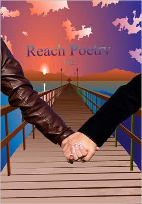 Reach Poetry 142 front cover showing the holding hands of a couple with a pier and bright sunset behind them