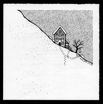 art showing house on snowy hillside