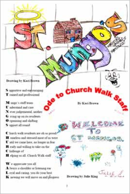 Shows layout on page with drawings saying Welcome To St Mungos