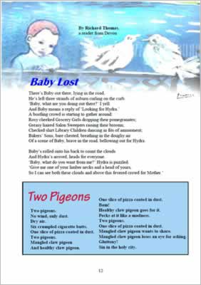 image shows page layout with boy looking at two doves above the poem