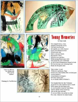 Shows paintings around the poem, mostly abstract.