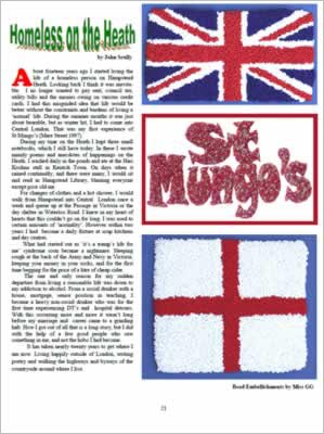Photos of beaded UK flags and St Mungos sign.